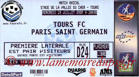 Ticket  Tours-PSG  2007-08