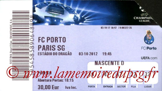 Ticket  Porto-PSG  2012-13
