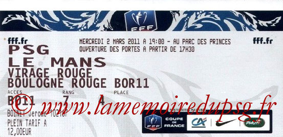 Ticket  PSG-Le Mans  2010-11