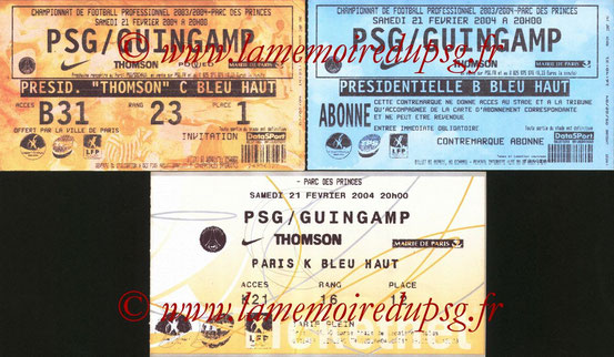 Tickets  PSG-Guingamp  2003-04
