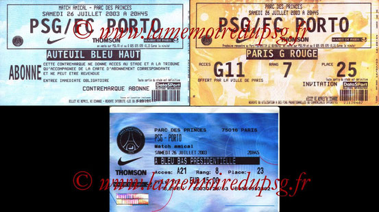 Ticket  PSG-FC Porto  2003-04