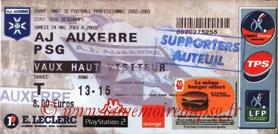 Ticket  Auxerre-PSG  2002-03