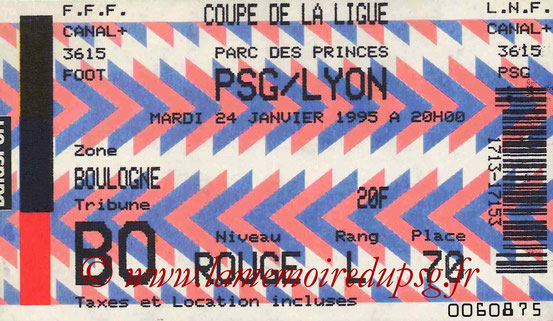Ticket  PSG-Lyon  1994-95