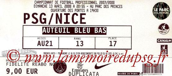 Ticket  PSG-Nice  2007-08