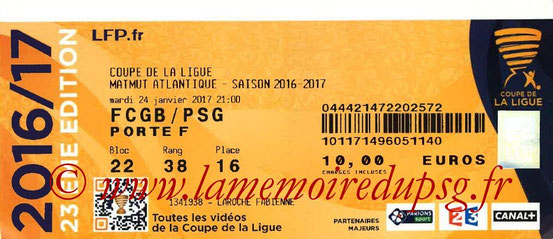 Ticket  Bordeaux-PSG  2016-17