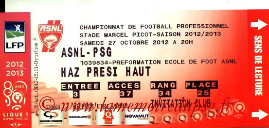 Ticket  Nancy-PSG  2012-13