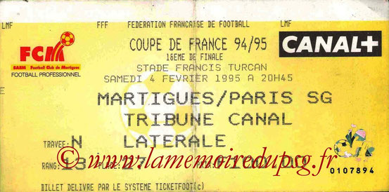 Ticket  Martigues-PSG  1994-95