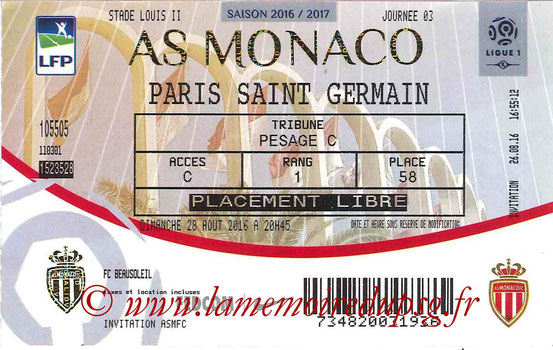 Ticket  Monaco-PSG  2016-17