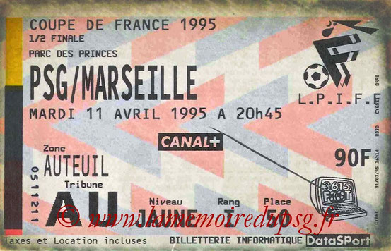 Ticket  PSG-Marseille  1994-95