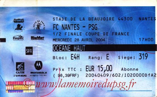 Ticket  Bayonne-PSG  2003-04 (Billetel)