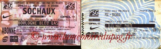 Tickets  PSG-Sochaux  2001-02