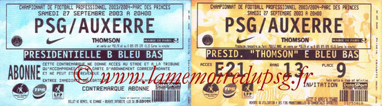 Tickets  PSG-Auxerre  2003-04