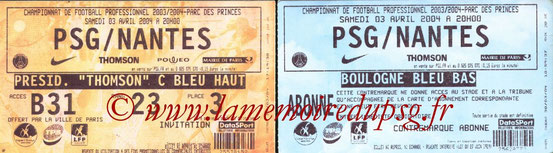 Tickets  PSG-Nantes  2003-04