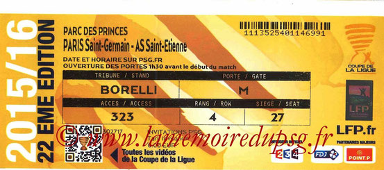 Ticket  PSG-Saint Etienne  2015-16