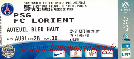 Ticket  PSG-Lorient  2011-12