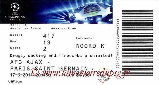 Ticket  Ajax Amsterdam-PSG  2014-15
