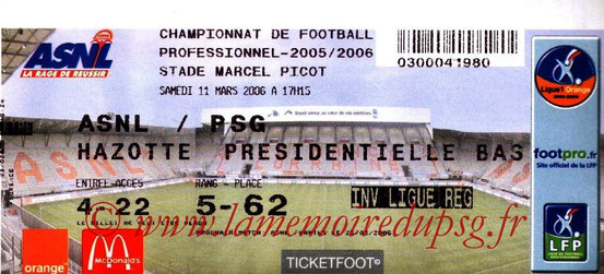 Ticket  Nancy-PSG  2005-06