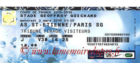 Ticket  PSG-Saint-Etienne  2015-16