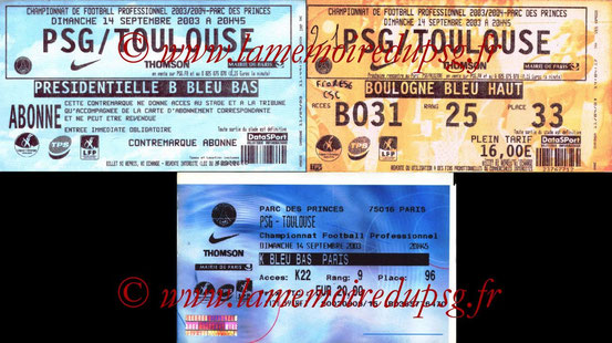 Tickets  PSG-Toulouse  2003-04