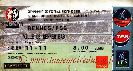 Ticket  Rennes-PSG  2002-03