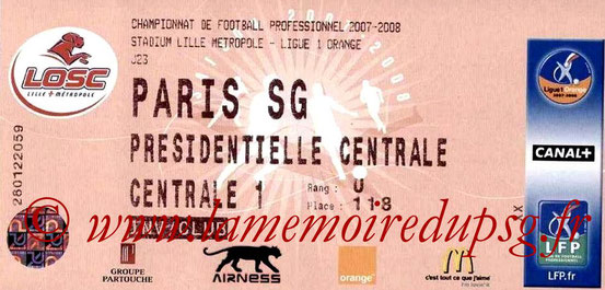 Ticket  Lille-PSG  2007-08