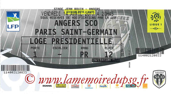 Ticket  Angers-PSG  2016-17