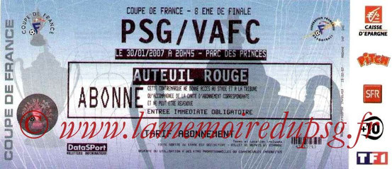 Ticket  PSG-Valenciennes  2006-07