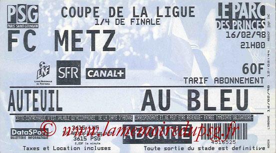 Ticket  PSG-Metz  1997-98