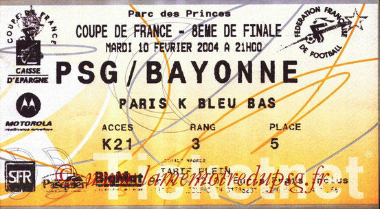 Ticket  Bayonne-PSG  2003-04 (Ticketnet)