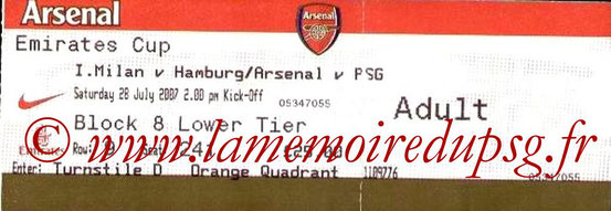 Tickets  Arsenal-PSG  2007-08