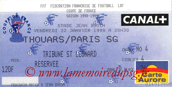 Ticket  Thouars-PSG  1998-99