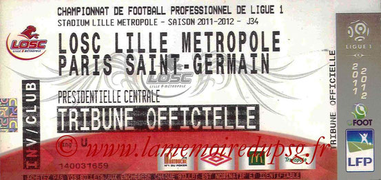 Ticket  Lille-PSG  2011-12