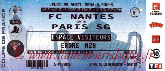 Ticket  Nantes-PSG  2005-06