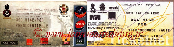 Tickets  Nice-PSG  2003-04