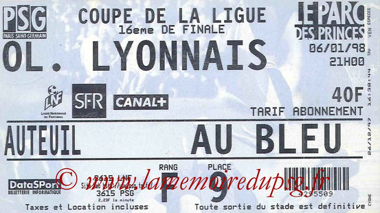 Ticket  PSG-Lyon  1997-98
