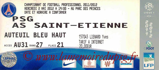 Ticket  PSG-Saint Etienne  2011-12