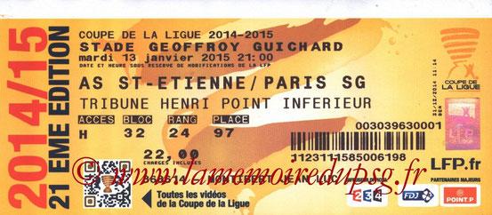 Ticket  Saint Etienne-PSG  2014-15