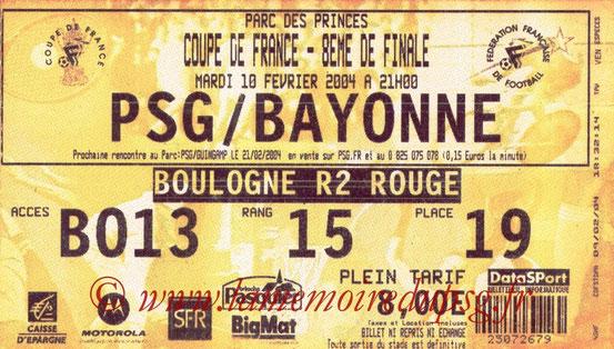Ticket  Bayonne-PSG  2003-04  bis