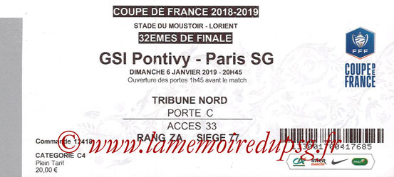 Ticket  Pontivy-PSG  2018-19