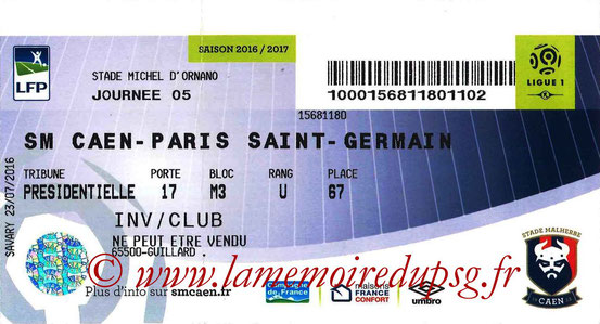 Ticket  Caen-PSG  2016-17