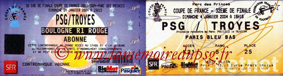 Tickets  PSG-Troyes  2003-04