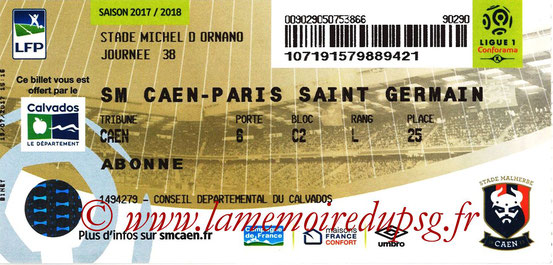 Ticket  Caen-PSG  2017-18