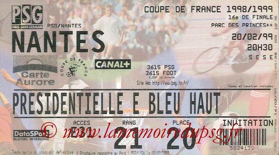 Ticket  PSG-Nantes  1998-99