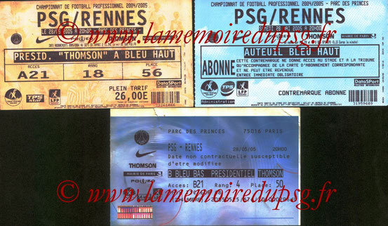 Tickets  PSG-Rennes  2004-05 (Billetel)