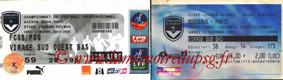 Tickets  Bordeaux-PSG  2004-05