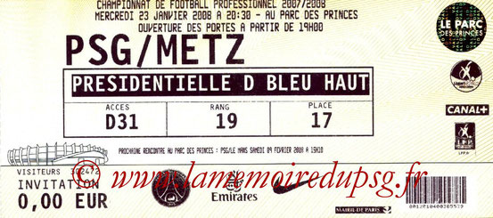 Ticket  PSG-Metz  2007-08