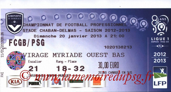Ticket  Bordeaux-PSG  2012-13