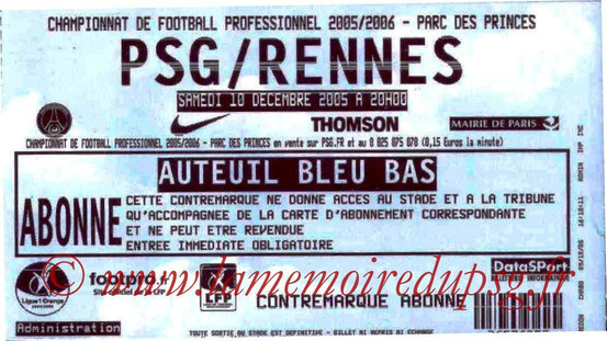 Ticket  PSG-Rennes  2005-06