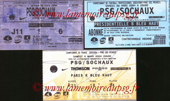 Tickets  PSG-Sochaux  2003-04