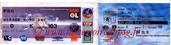Tickets  Lyon-PSG  2004-05